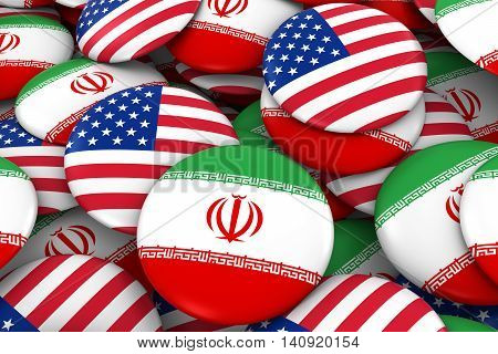 Iran And Usa Badges Background - Pile Of Iranian And Us Flag Buttons 3D Illustration