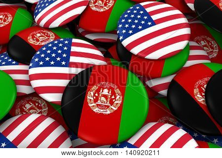 Afghanistan And Usa Badges Background - Pile Of Afghan And Us Flag Buttons 3D Illustration