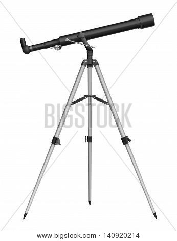 Telescope isolated on white, detailed illustration of telescope refractor, EPS 10 contains transparency.