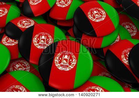 Afghanistan Badges Background - Pile Of Afghan Flag Buttons 3D Illustration