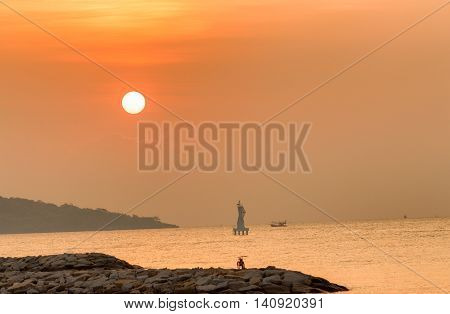 Morning sunrise at sea. variety of colors and hues of the rising composition