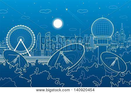 Radars in the woods, ferris wheel, communication technology, weather station, night skyline, neon city, urban scene, vector design art