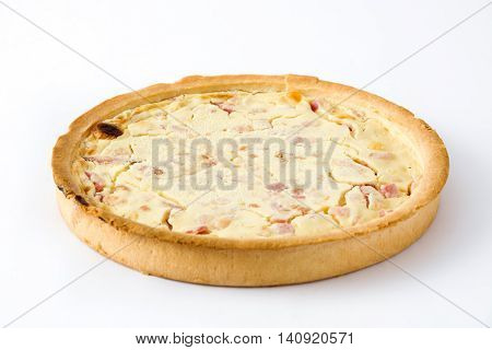 French quiche Lorraine with bacon and cooked ham
