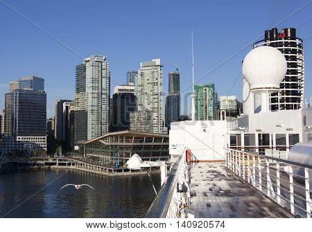The cruise liner docking in Vancouver downtown (British Columbia Canada).