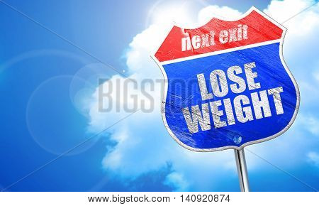 lose weight, 3D rendering, blue street sign