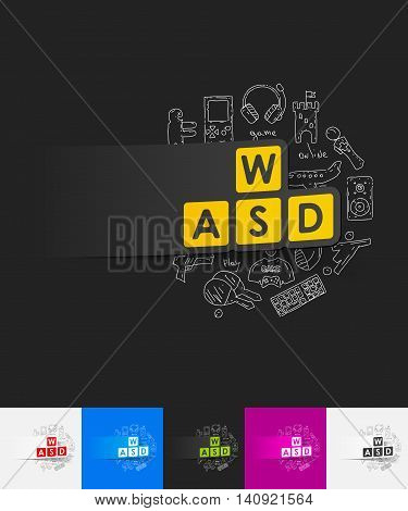 hand drawn simple elements with keypad paper sticker shadow