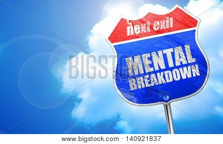 mental breakdown, 3D rendering, blue street sign
