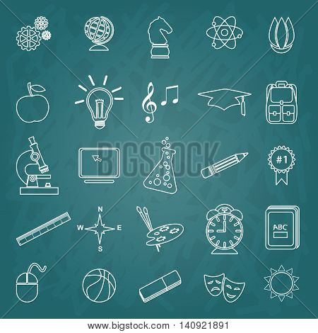 Back to School trendy line icon set. School, after-school kids' activities. Science, Art, technology education concept. Use for youth targeted product decoration, illustration, infographics. background & hand drawn icons. Layered editable