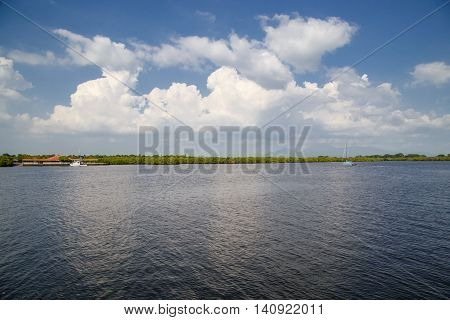 quiet sea view with clouds on the sky