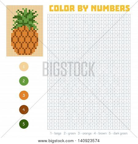 Color By Number, Fruits And Vegetables, Pineapple