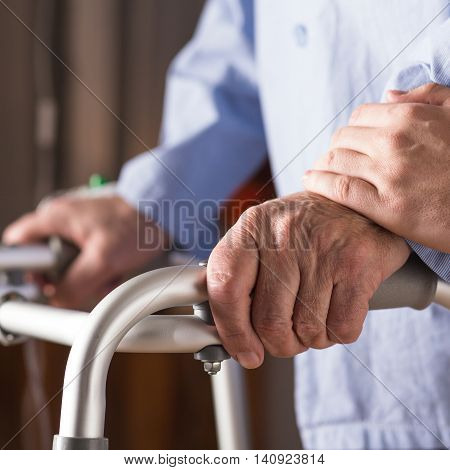 Senior Person Holding Walking Zimmer