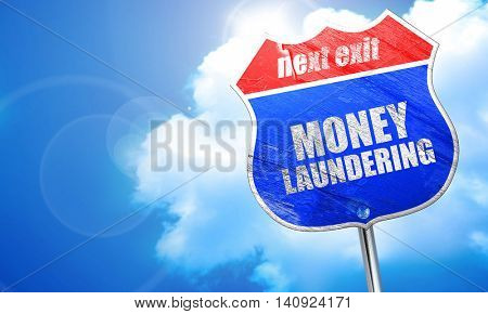 money laundering, 3D rendering, blue street sign