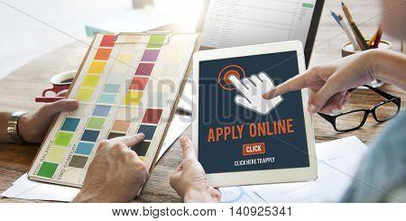 Apply Here Apply Online Job Concept
