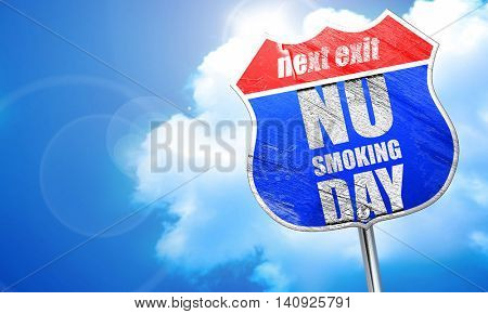 no smoking day, 3D rendering, blue street sign