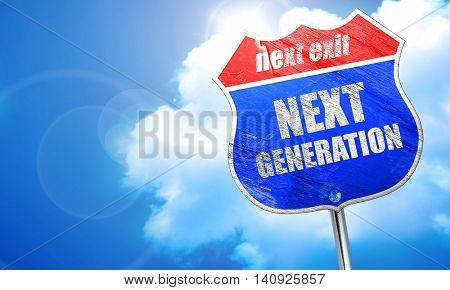 next generation, 3D rendering, blue street sign