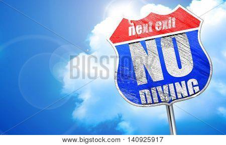 no diving, 3D rendering, blue street sign