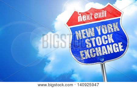 new york stock exchange, 3D rendering, blue street sign