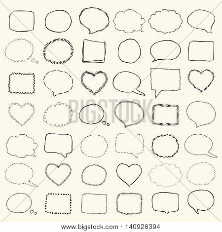 Big Set of Hand Drawn Black Sketched Rustic Doodle Speech Bubbles and Banners, Frames and Borders. Outlined Vector Illustration.