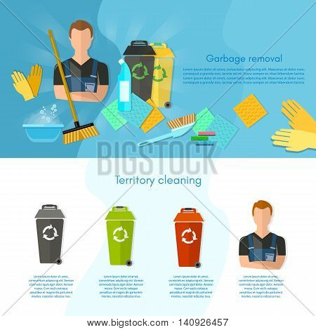 Garbage sorting infographics trash cans sorting waste for recycling separation of waste on garbage bins vector