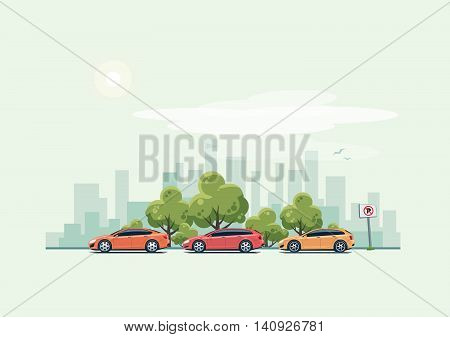 Vector illustration of modern cars parking along the city street with green trees in cartoon style. Hatchback station wagon and sedan parked on wrong place with no parking sign. City skyscrapers skyline on green turquoise background.