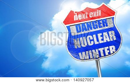 Nuclear danger background, 3D rendering, blue street sign