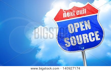 open source, 3D rendering, blue street sign