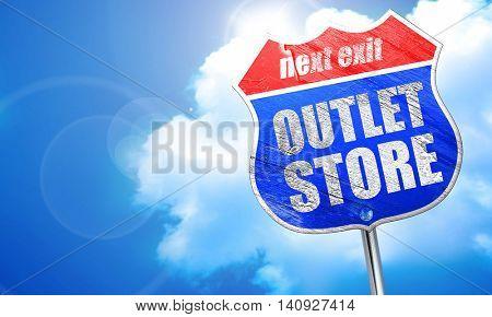 outlet store, 3D rendering, blue street sign