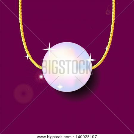 Pearl bead on golden chain, vector illustration on deep red background. Precious jewelry drawing with place for text. Gold pearl pendant with shadow picture. Realistic single pearl jewellery image