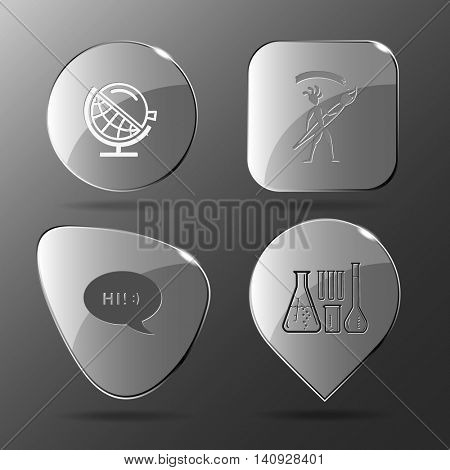 4 images: globe and loupe, ethnic little man with brush, chat symbol, chemical test tubes. Education set. Glass buttons. Vector illustration icon.