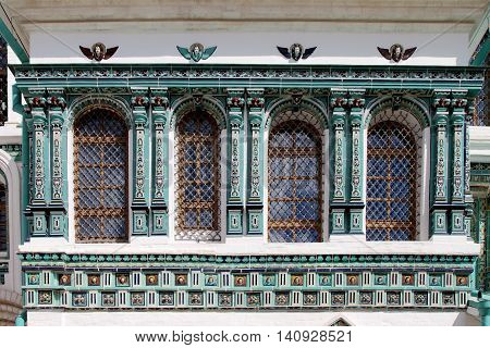 Tiled facade of the new Jerusalem resurrection monastery. Russia.