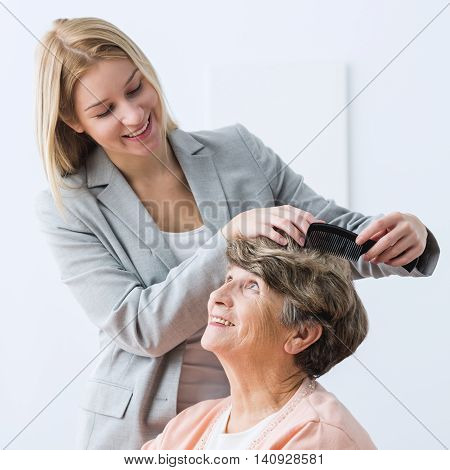 Woman Take Care Of Grandmother