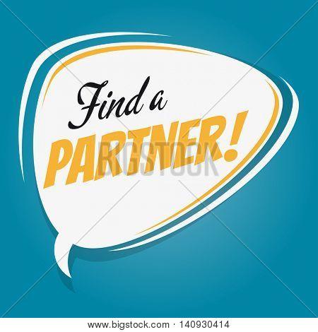 find a partner retro speech balloon