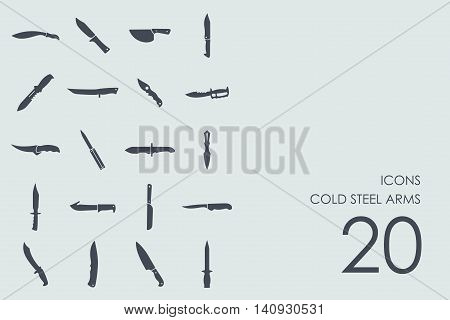 cold steel arms vector set of modern simple icons