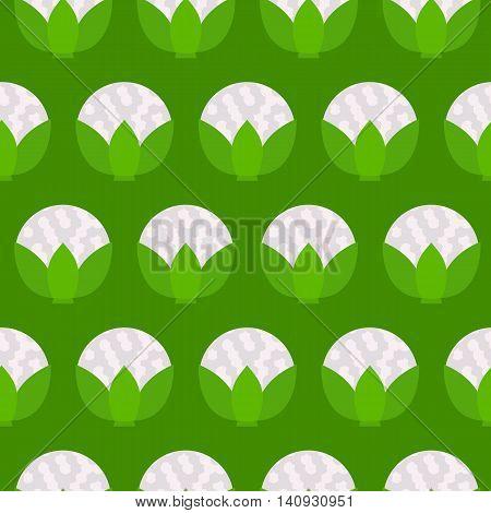 Cauliflower green seamless pattern. Vector illustration of  image of cauliflower on a green background.