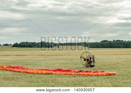 Paraglider Ready For The Flight