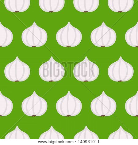 Garlic seamless pattern. Vector illustration of  image of garlic on a green background.