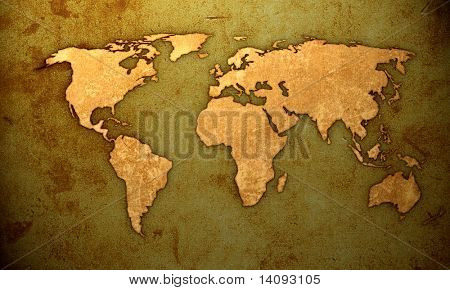 aged world map-vintage artwork