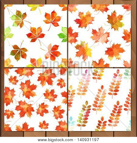 Watercolor vector autumn leaves patterns set. Wreath of autumn leaves. Background with hand drawn autumn leaves. Fall of the leaves. Sketch design elements. Vector illustration