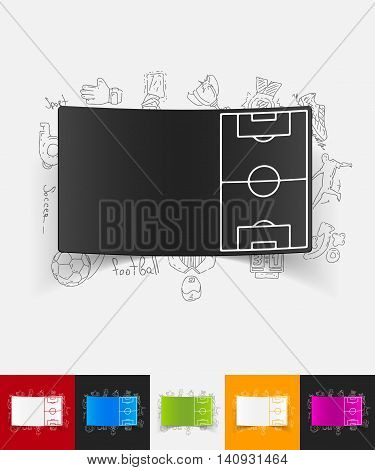 hand drawn simple elements with playing field paper sticker shadow
