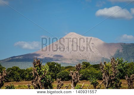 Telica volcano view from Nicaragua with blue sky