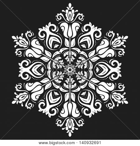 Oriental pattern with arabesques and floral elements. Traditional classic ornament. Black and white decor