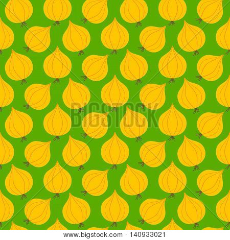 Onion seamless pattern. Vector illustration of  image of onion on a green background.