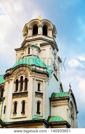 Architectural details, partial view of St. Alexander Nevsky Cathedral in the center of Sofia, capital of Bulgaria