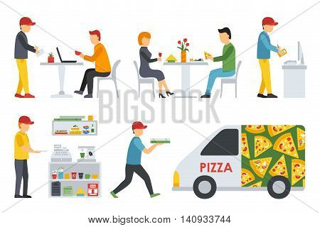 Pizzeria icons set. People in a flat interior. Cashier, Deliveryman, Customers, Bistro, Waiters, Delivery, Car. Pizza conceptual web vector illustration.