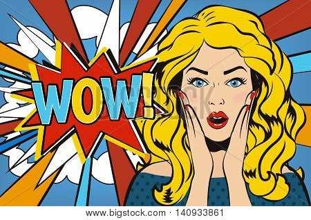 Wow woman. Wow bubble pop art comic sexy shocked surprised woman face with open mouth says WOW!