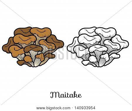 Coloring Book. Japanese Edible Mushrooms, Maitake