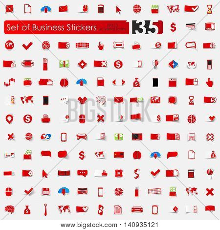 business vector sticker icons with shadow. Paper cut