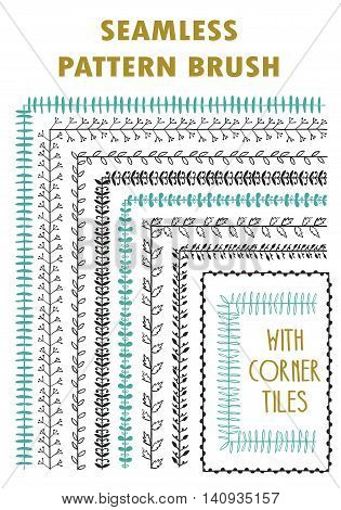 Hand drawn decorative vector brushes with corner tiles. Dividers, borders, ornaments. Ink illustration. Vector
