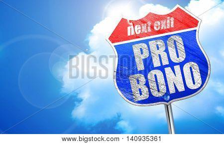 pro bono, 3D rendering, blue street sign