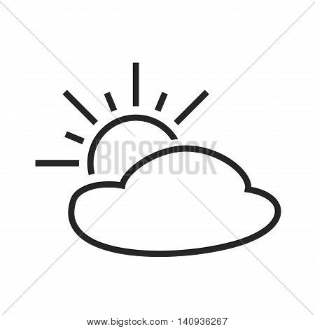 Partly cloudy. Sunny intervals. Day. Weather forecast icon. Editable element. Creative item. Flat design graphic. Part of series of various symbols and signs for climate changes diagnostic. Vector